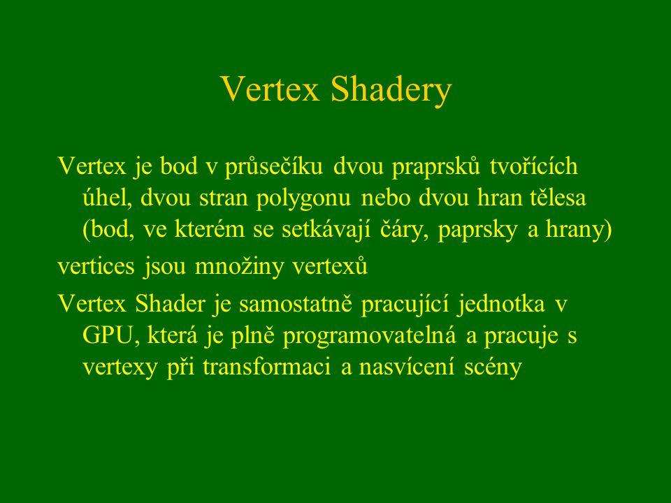 Vertex Shadery Vertex je bod v průsečíku dvou praprsků tvořících úhel, dvou stran polygonu nebo dvou hran tělesa (bod, ve kterém se setkávají čáry, paprsky a hrany) vertices jsou množiny vertexů Vertex Shader je samostatně pracující jednotka v GPU, která je plně programovatelná a pracuje s vertexy při transformaci a nasvícení scény