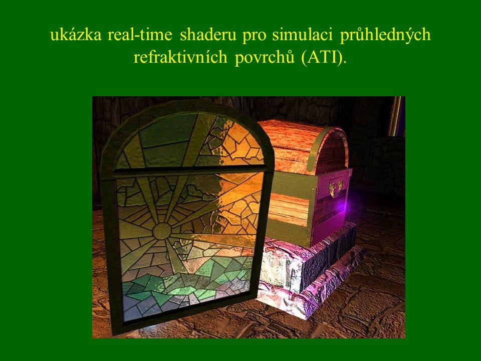 ukázka real-time shaderu pro simulaci průhledných refraktivních povrchů (ATI).