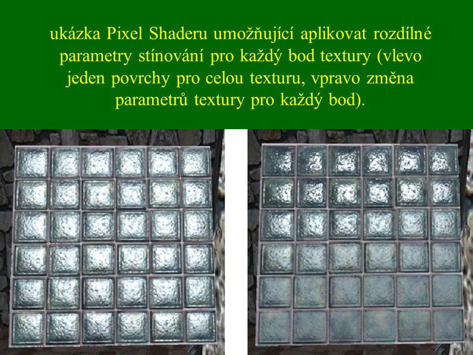 ukázka Pixel Shaderu umožňující aplikovat rozdílné parametry stínování pro každý bod textury (vlevo jeden povrchy pro celou texturu, vpravo změna parametrů textury pro každý bod).