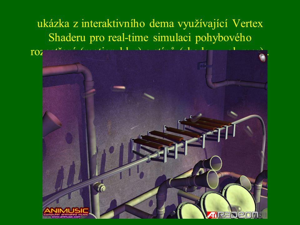 ukázka z interaktivního dema využívající Vertex Shaderu pro real-time simulaci pohybového rozostření (motion blur) a stínů (shadow volumes)..