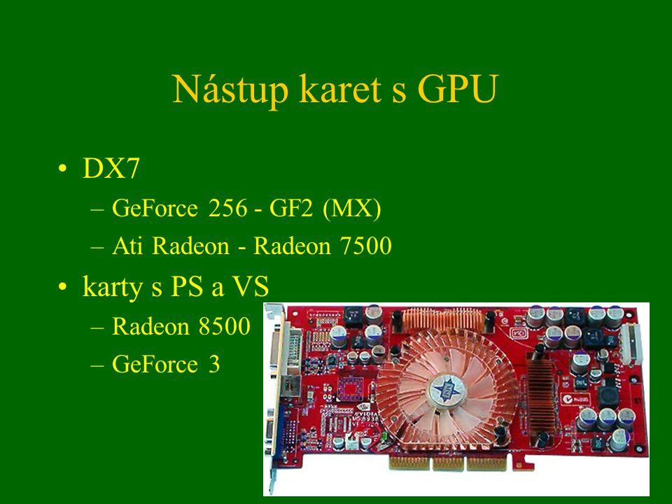 Současné grafické karty nVidia –GeForce FX5900 (NV35), FX5950 (NV38) –GeForce 6800 (NV40) Ati –Radeon 9800 (R300, R350, R360) –Radeon X800 (R380) ostatní –XGI (SiS + Trident, karty Volari) –S3/VIA (karty DeltaChrome)