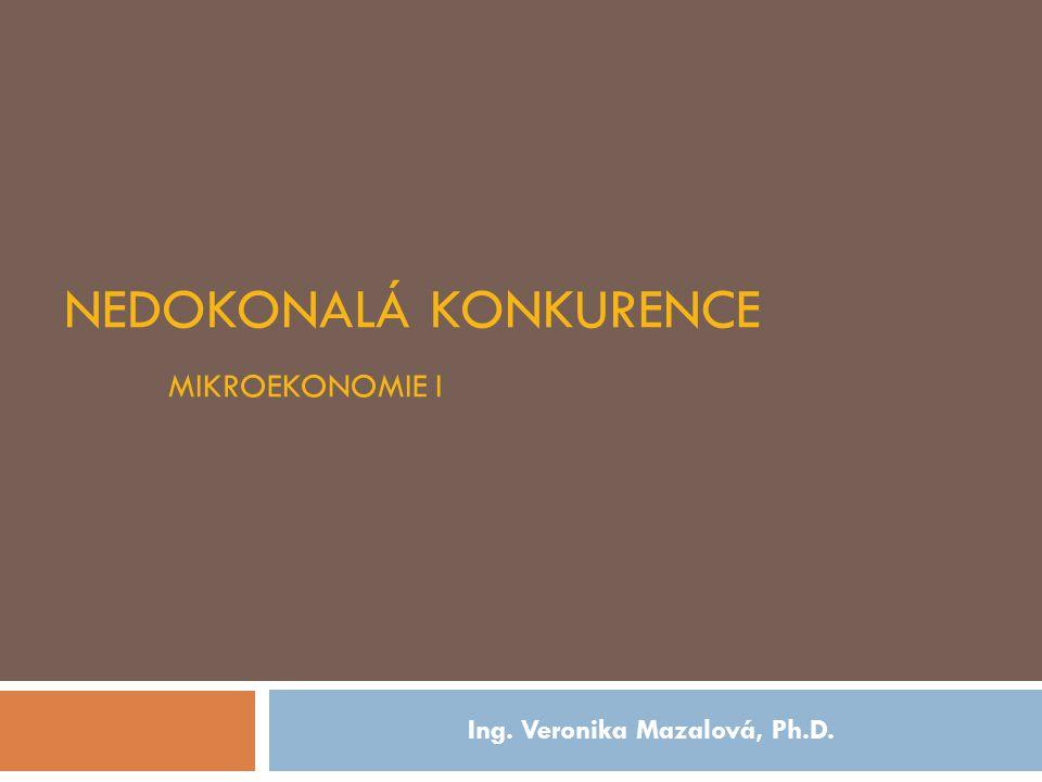 NEDOKONALÁ KONKURENCE MIKROEKONOMIE I Ing. Veronika Mazalová, Ph.D.