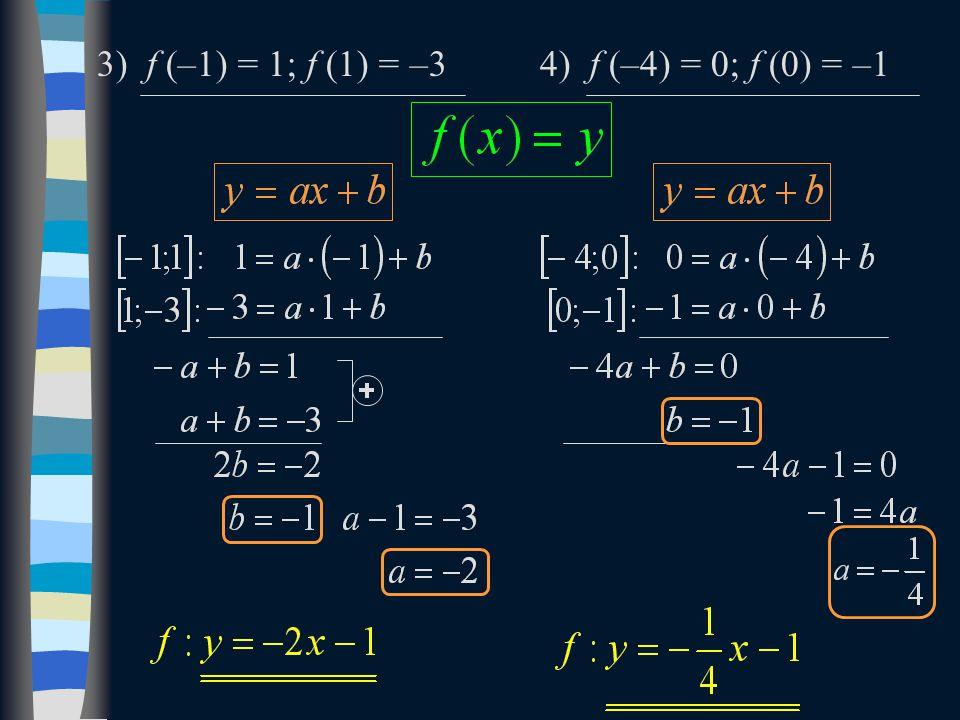 3) f (–1) = 1; f (1) = –34) f (–4) = 0; f (0) = –1