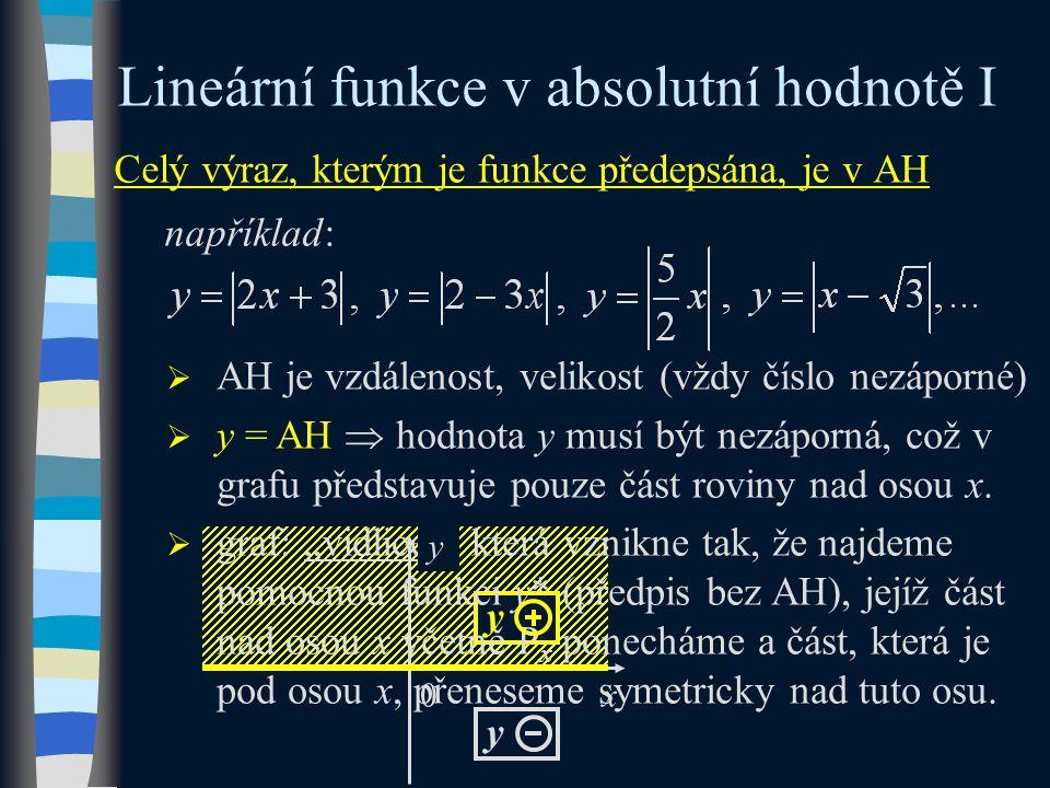 x Celý výraz, kterým je funkce předepsána, je v AH například: Lineární funkce v absolutní hodnotě I  AH je vzdálenost, velikost (vždy číslo nezáporné)  y = AH  hodnota y musí být nezáporná, což v grafu představuje pouze část roviny nad osou x.