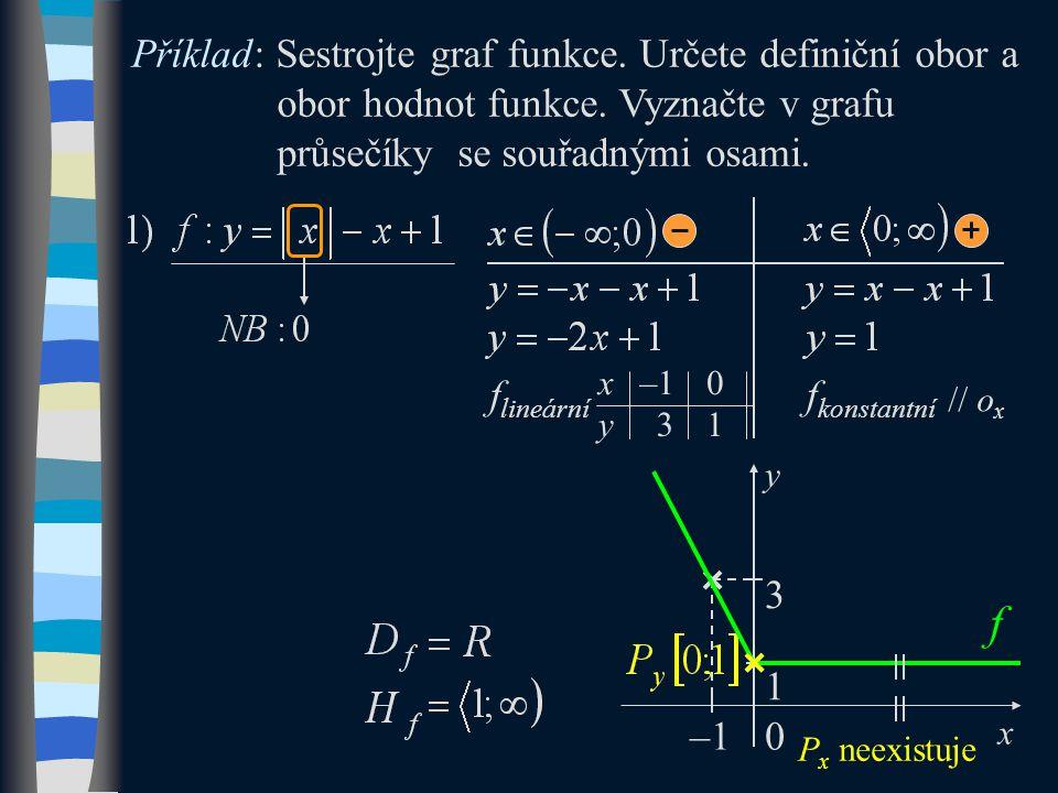 –1 f 0 x y 3 Příklad: Sestrojte graf funkce. Určete definiční obor a obor hodnot funkce.
