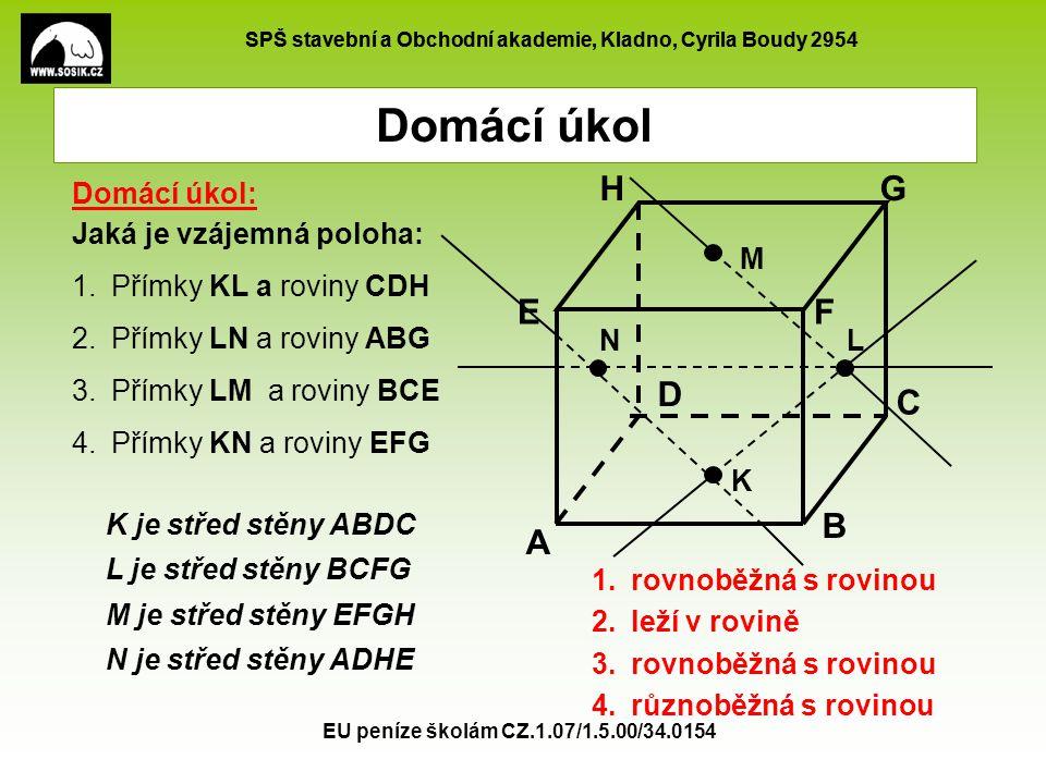 SPŠ stavební a Obchodní akademie, Kladno, Cyrila Boudy 2954 EU peníze školám CZ.1.07/1.5.00/34.0154 Domácí úkol K je střed stěny ABDC L je střed stěny