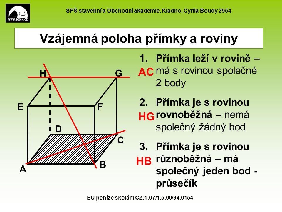 SPŠ stavební a Obchodní akademie, Kladno, Cyrila Boudy 2954 EU peníze školám CZ.1.07/1.5.00/34.0154 1.Přímka leží v rovině – má s rovinou společné 2 b