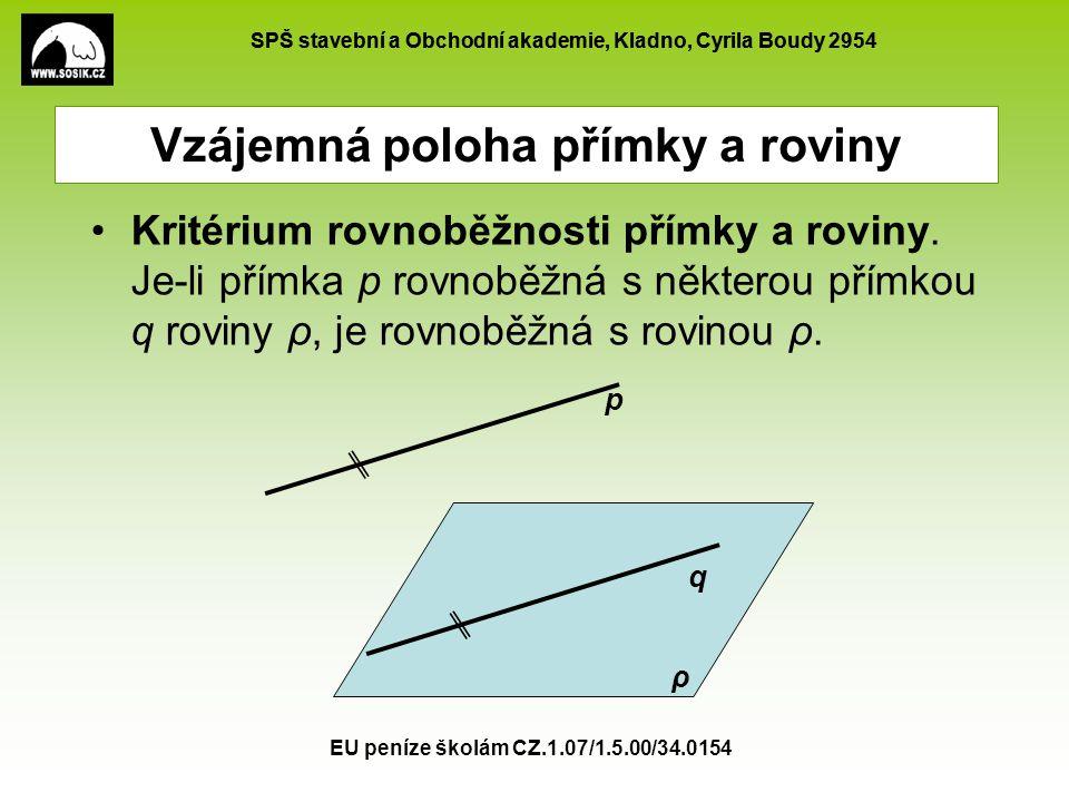 SPŠ stavební a Obchodní akademie, Kladno, Cyrila Boudy 2954 EU peníze školám CZ.1.07/1.5.00/34.0154 Vzájemná poloha přímky a roviny Kritérium rovnoběž