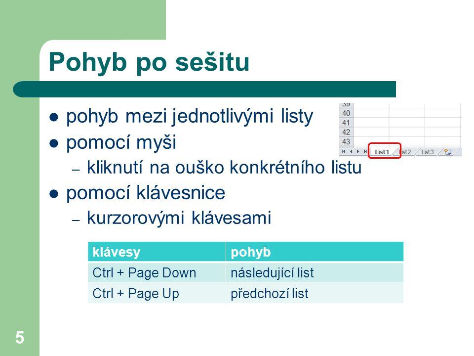 5 Pohyb po sešitu pohyb mezi jednotlivými listy pomocí myši – kliknutí na ouško konkrétního listu pomocí klávesnice – kurzorovými klávesami klávesypohyb Ctrl + Page Downnásledující list Ctrl + Page Uppředchozí list