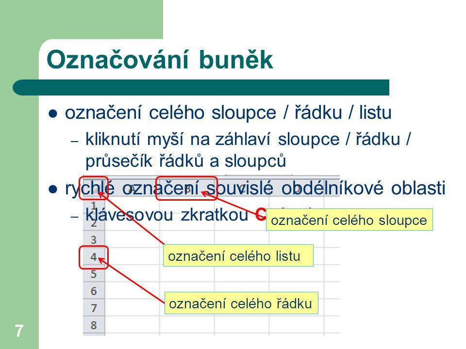 Označování buněk označení celého sloupce / řádku / listu – kliknutí myší na záhlaví sloupce / řádku / průsečík řádků a sloupců rychlé označení souvisl