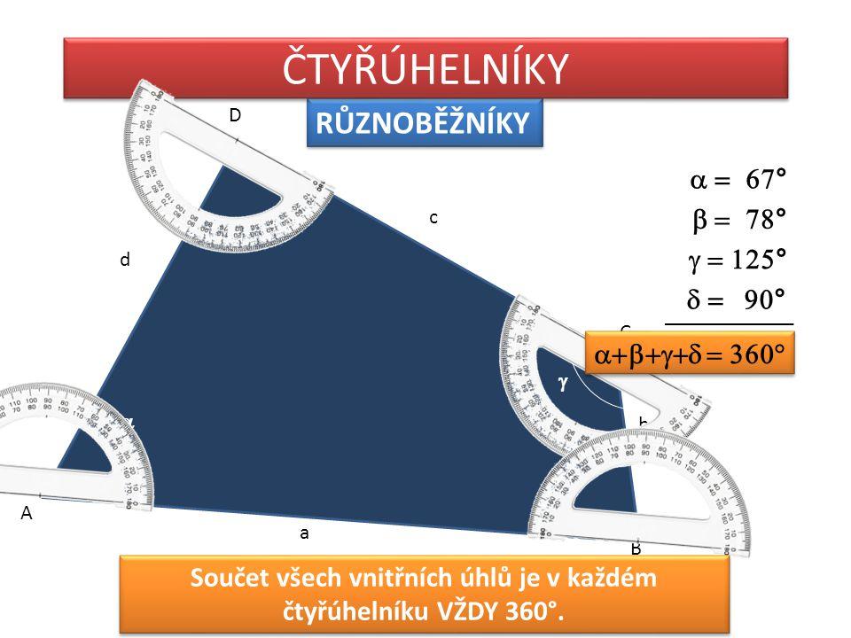 RŮZNOBĚŽNÍKY ČTYŘÚHELNÍKY A D C B b a c d          Součet všech vnitřních úhlů je v každém čtyřúhel