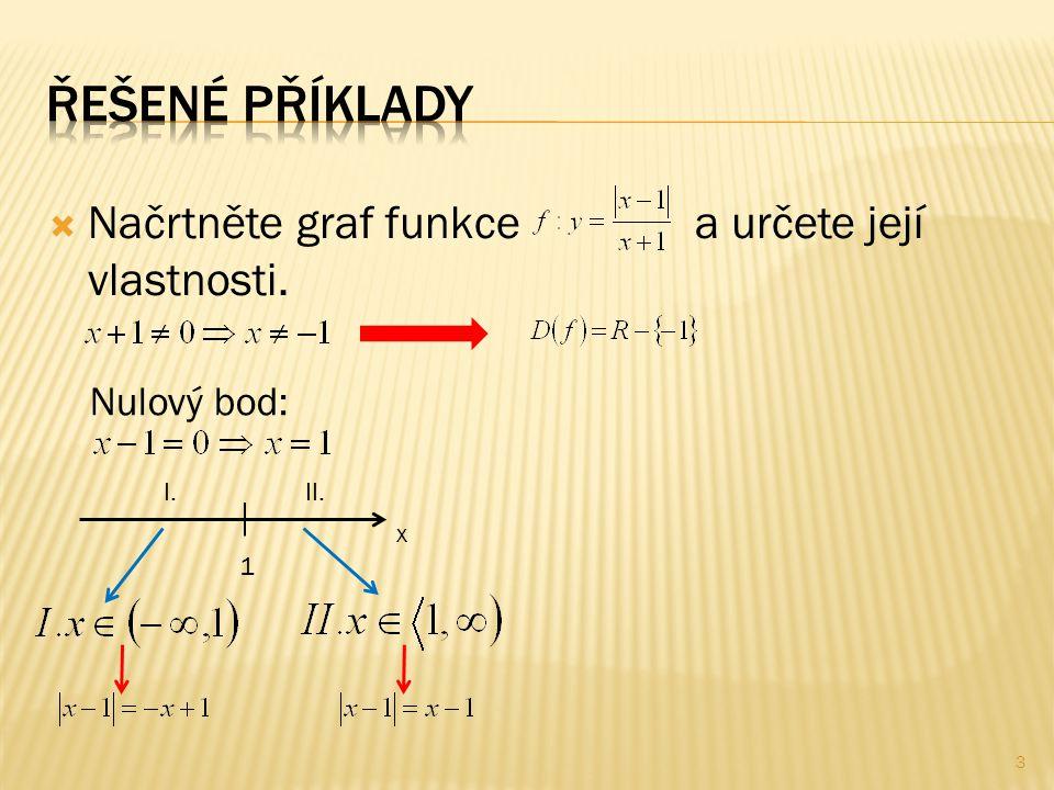  Načrtněte graf funkce a určete její vlastnosti. 3 Nulový bod: 1 x II.I.
