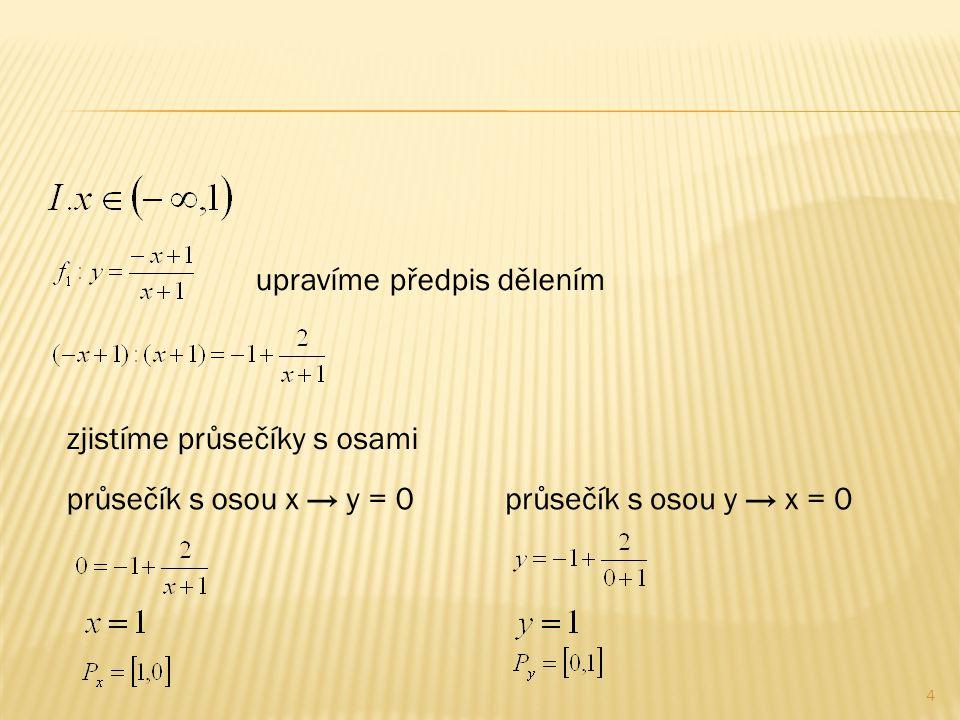 4 upravíme předpis dělením zjistíme průsečíky s osami průsečík s osou x → y = 0průsečík s osou y → x = 0