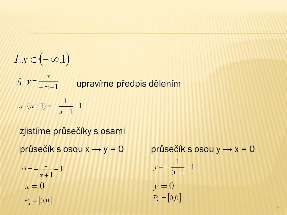 9 upravíme předpis dělením zjistíme průsečíky s osami průsečík s osou x → y = 0průsečík s osou y → x = 0