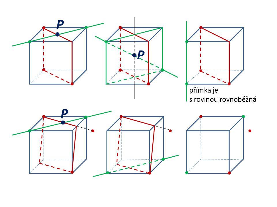 P P přímka je s rovinou rovnoběžná P