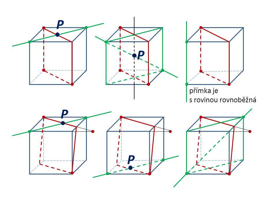 P P přímka je s rovinou rovnoběžná P P