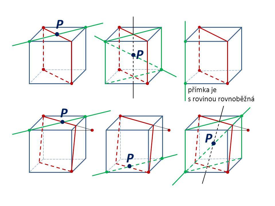 P P přímka je s rovinou rovnoběžná P P P