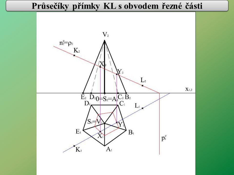 Průsečíky přímky KL s obvodem řezné části