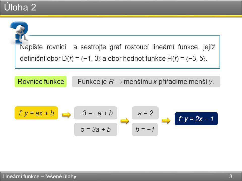 Úloha 2 Lineární funkce – řešené úlohy 3 Napište rovnici a sestrojte graf rostoucí lineární funkce, jejíž definiční obor D(f) =  −1, 3  a obor hodnot funkce H(f) =  −3, 5 .