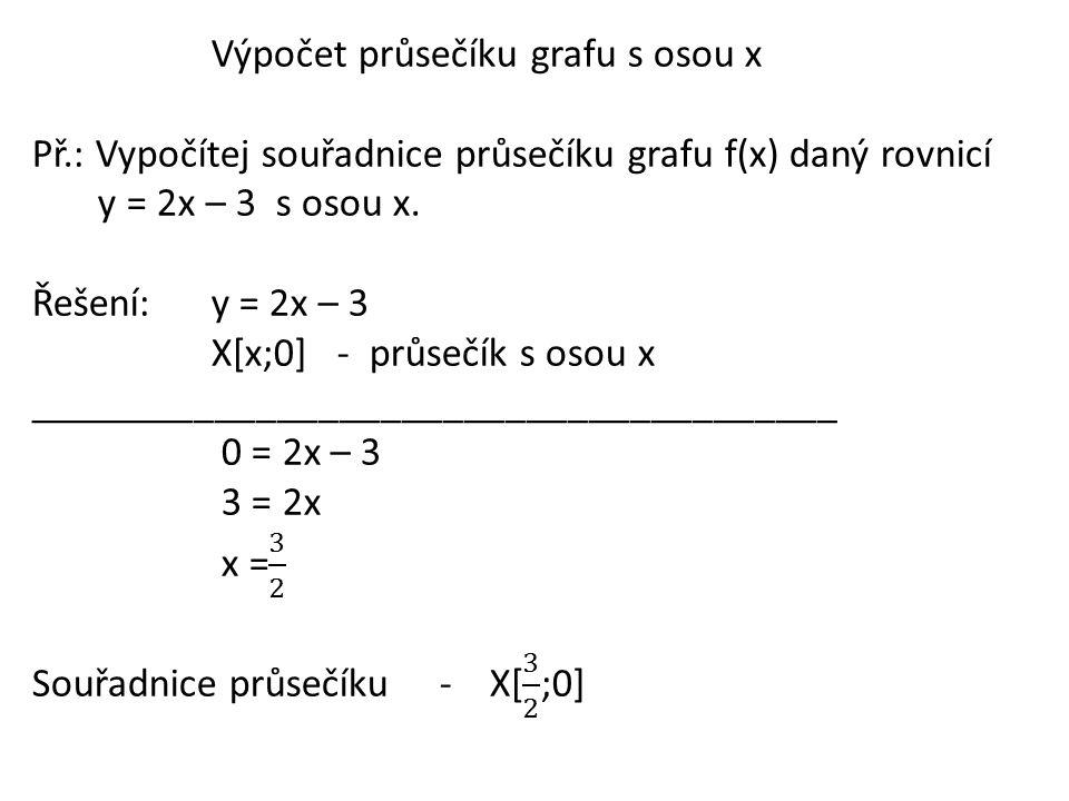 Průsečík grafu s osou y -je bod, jehož x-ová souřadnice je rovna 0 Př.: Zapiš souřadnice průsečíku grafu s osou y.