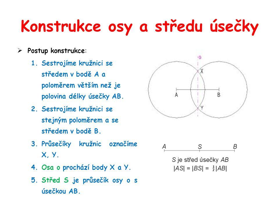 Konstrukce osy úhlu  Postup konstrukce : 1.Body X, Y jsou průsečíky ramen úhlu a kružnice se středem v bodě V a libovolným poloměrem r.