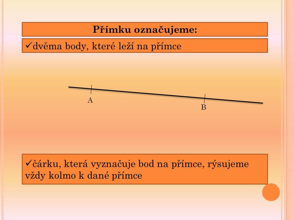 Přímku označujeme: dvěma body, které leží na přímce A B čárku, která vyznačuje bod na přímce, rýsujeme vždy kolmo k dané přímce