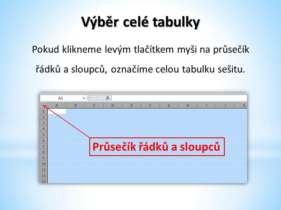 Výběr celé tabulky Pokud klikneme levým tlačítkem myši na průsečík řádků a sloupců, označíme celou tabulku sešitu. Průsečík řádků a sloupců