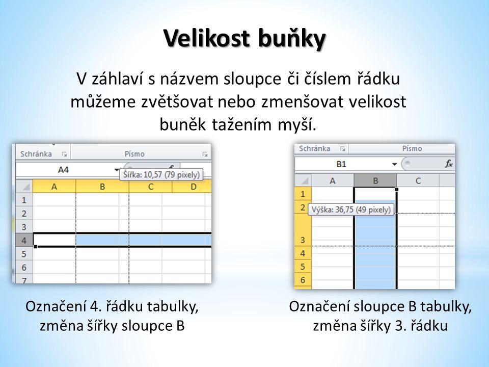 Velikost buňky Označení 4. řádku tabulky, změna šířky sloupce B Označení sloupce B tabulky, změna šířky 3. řádku V záhlaví s názvem sloupce či číslem