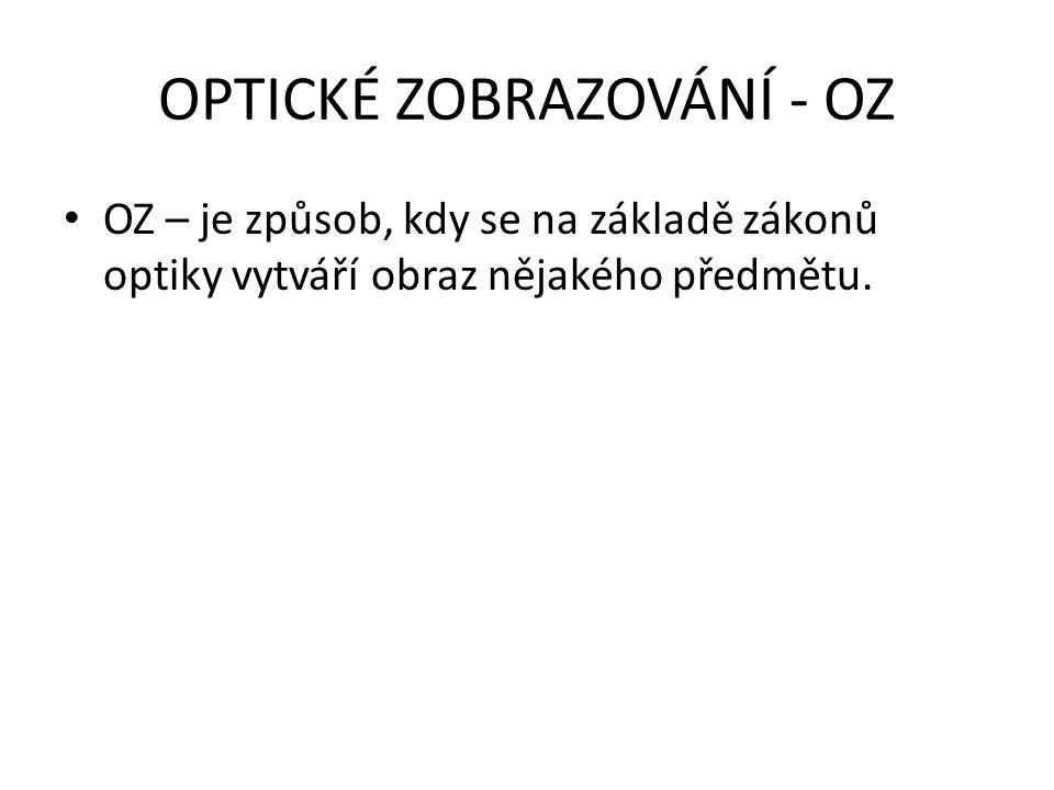 OPTICKÉ ZOBRAZOVÁNÍ - OZ OZ – je způsob, kdy se na základě zákonů optiky vytváří obraz nějakého předmětu.
