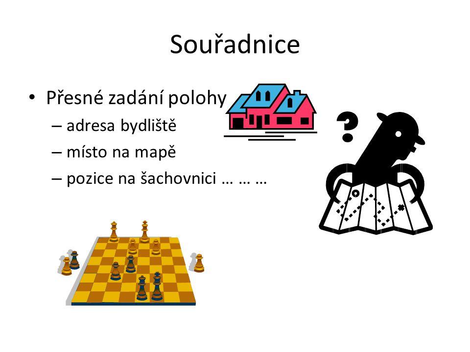 Souřadnice Přesné zadání polohy – adresa bydliště – místo na mapě – pozice na šachovnici … … …
