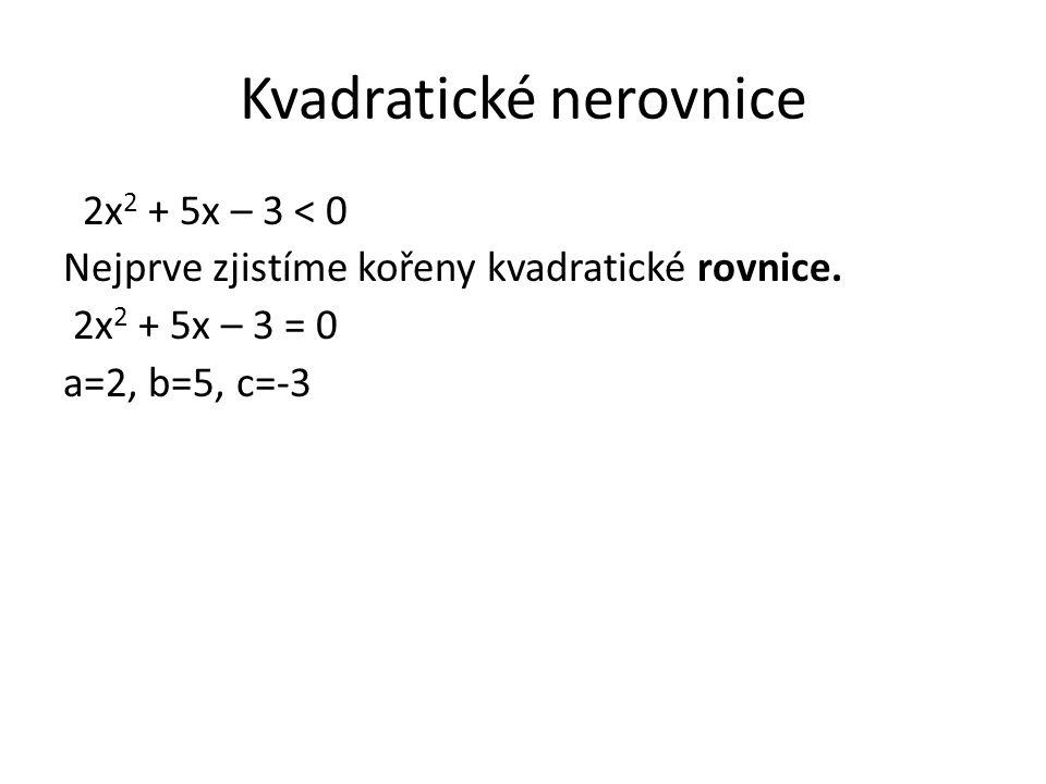 Kvadratické nerovnice 2x 2 + 5x – 3 < 0 Nejprve zjistíme kořeny kvadratické rovnice. 2x 2 + 5x – 3 = 0 a=2, b=5, c=-3