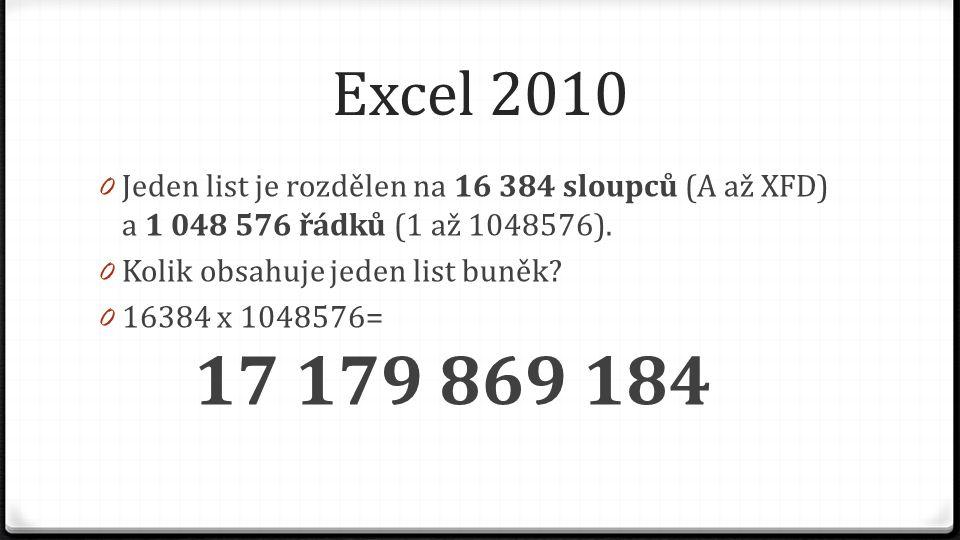 Excel 2010 0 Jeden list je rozdělen na 16 384 sloupců (A až XFD) a 1 048 576 řádků (1 až 1048576). 0 Kolik obsahuje jeden list buněk? 0 16384 x 104857
