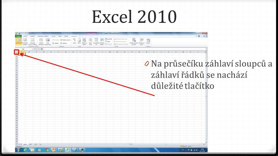 Excel 2010 0 Na průsečíku záhlaví sloupců a záhlaví řádků se nachází důležité tlačítko