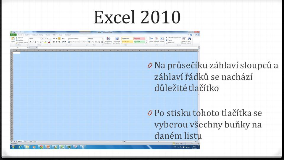 Excel 2010 0 Na průsečíku záhlaví sloupců a záhlaví řádků se nachází důležité tlačítko 0 Po stisku tohoto tlačítka se vyberou všechny buňky na daném listu