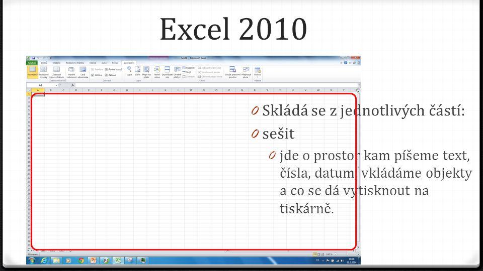 Excel 2010 0 Skládá se z jednotlivých částí: 0 sešit 0 jde o prostor kam píšeme text, čísla, datum, vkládáme objekty a co se dá vytisknout na tiskárně