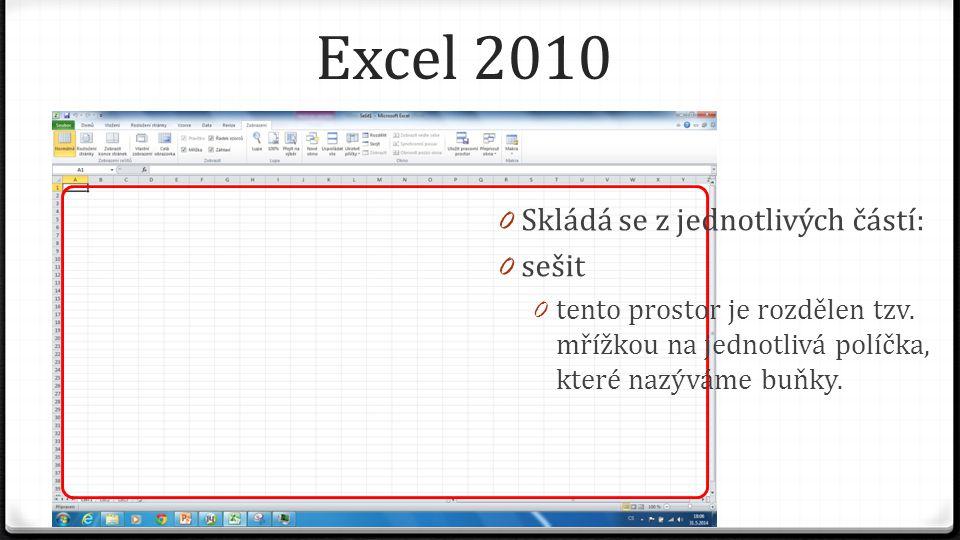 Excel 2010 0 Skládá se z jednotlivých částí: 0 sešit 0 tento prostor je rozdělen tzv. mřížkou na jednotlivá políčka, které nazýváme buňky.