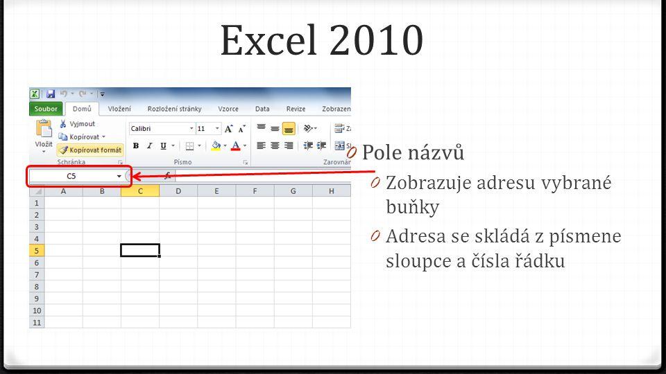 Excel 2010 0 Pole názvů 0 Zobrazuje adresu vybrané buňky 0 Adresa se skládá z písmene sloupce a čísla řádku