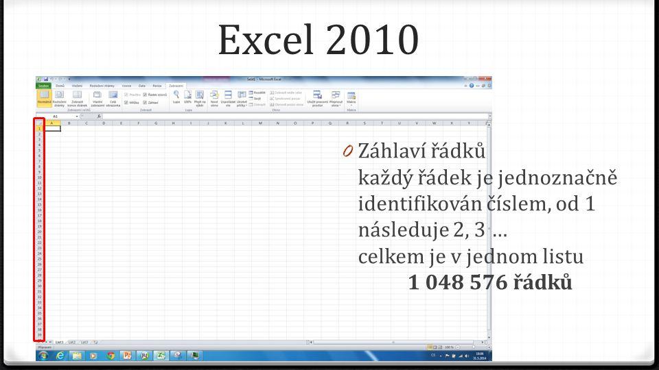 Excel 2010 0 Záhlaví řádků každý řádek je jednoznačně identifikován číslem, od 1 následuje 2, 3 … celkem je v jednom listu 1 048 576 řádků