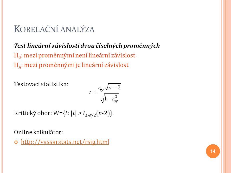 K ORELAČNÍ ANALÝZA Test lineární závislosti dvou číselných proměnných H 0 : mezi proměnnými není lineární závislost H A : mezi proměnnými je lineární