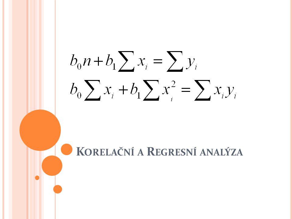 R EGRESNÍ ANALÝZA D IAGNOSTICKÁ KONTROLA MODELU F-test o regresním modelu H 0 : zvolený model není statisticky významný, obecný model nelze vytvořit matematicky: β 0 = c; β 1 = 0 H A : zvolený model je statisticky významný, obecný model lze vytvořit matematicky : β 0 = c; β 1 ≠ 0 Testovací statistika: S T je teoretická suma čtverců, S R je reziduální suma čtverců.