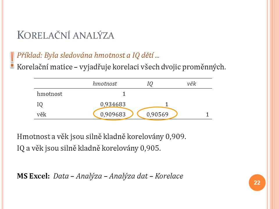 K ORELAČNÍ ANALÝZA Příklad: Byla sledována hmotnost a IQ dětí... Korelační matice – vyjadřuje korelaci všech dvojic proměnných. Hmotnost a věk jsou si