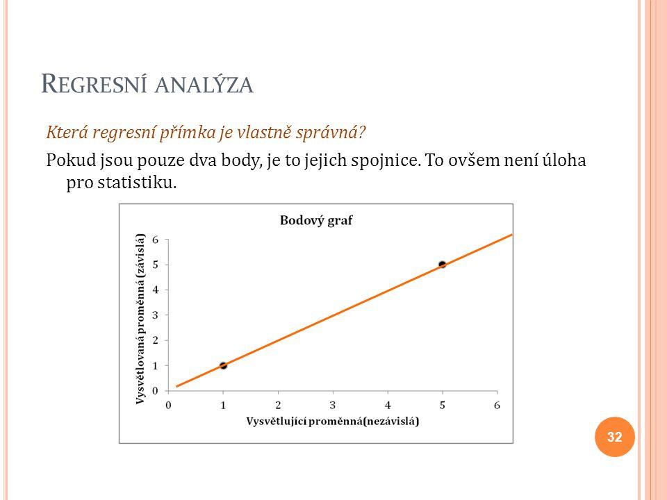 R EGRESNÍ ANALÝZA Která regresní přímka je vlastně správná? Pokud jsou pouze dva body, je to jejich spojnice. To ovšem není úloha pro statistiku. 32