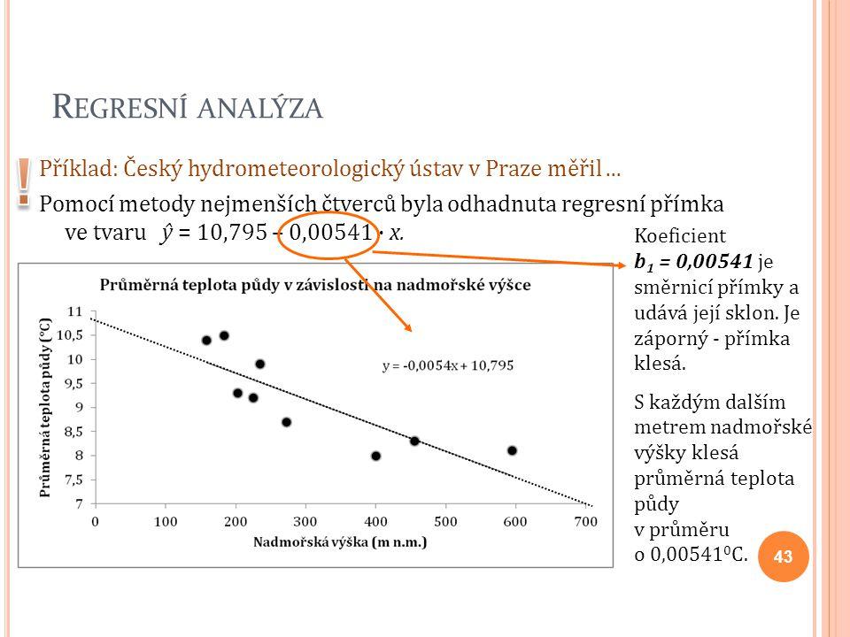 R EGRESNÍ ANALÝZA Příklad: Český hydrometeorologický ústav v Praze měřil... Pomocí metody nejmenších čtverců byla odhadnuta regresní přímka ve tvaru ŷ