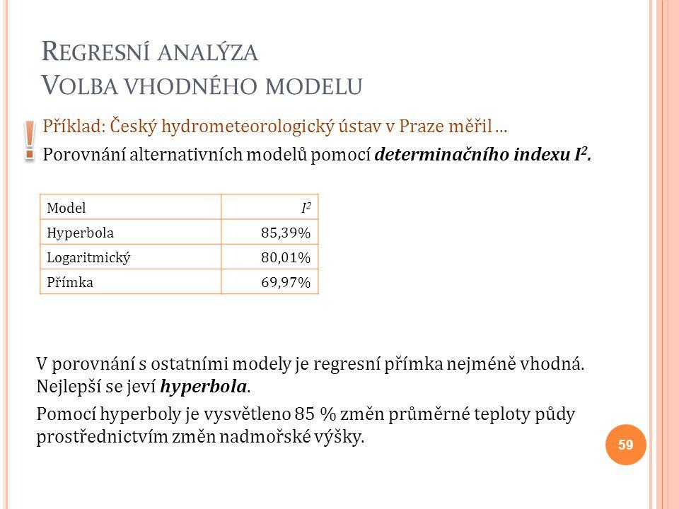 R EGRESNÍ ANALÝZA V OLBA VHODNÉHO MODELU Příklad: Český hydrometeorologický ústav v Praze měřil... Porovnání alternativních modelů pomocí determinační