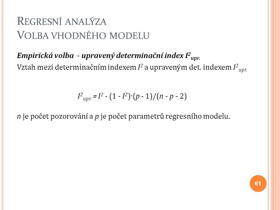 R EGRESNÍ ANALÝZA V OLBA VHODNÉHO MODELU Empirická volba - upravený determinační index I 2 upr. Vztah mezi determinačním indexem I 2 a upraveným det.