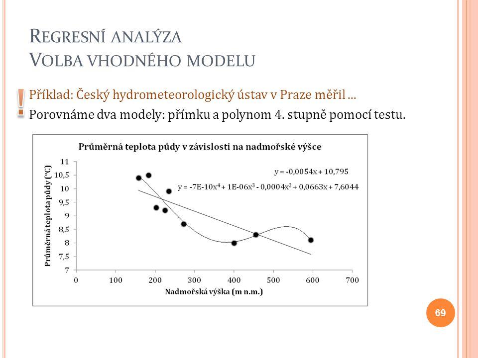R EGRESNÍ ANALÝZA V OLBA VHODNÉHO MODELU Příklad: Český hydrometeorologický ústav v Praze měřil... Porovnáme dva modely: přímku a polynom 4. stupně po