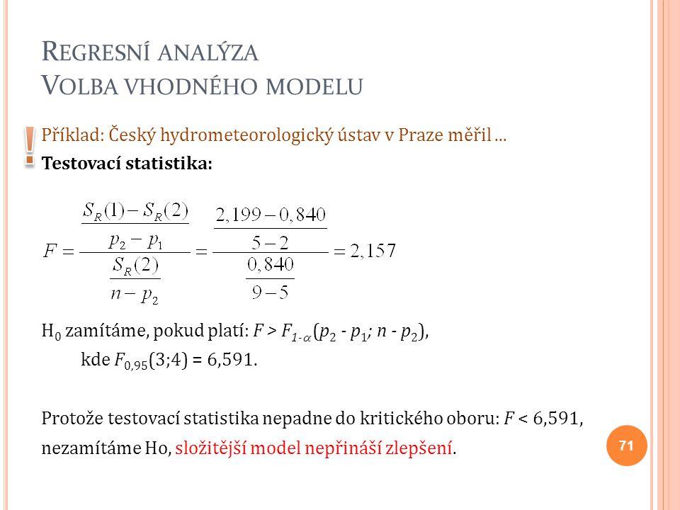 R EGRESNÍ ANALÝZA V OLBA VHODNÉHO MODELU Příklad: Český hydrometeorologický ústav v Praze měřil... Testovací statistika: H 0 zamítáme, pokud platí: F