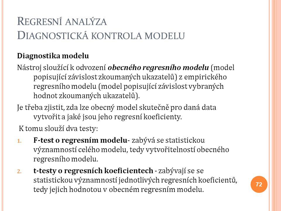 R EGRESNÍ ANALÝZA D IAGNOSTICKÁ KONTROLA MODELU Diagnostika modelu Nástroj sloužící k odvození obecného regresního modelu (model popisující závislost
