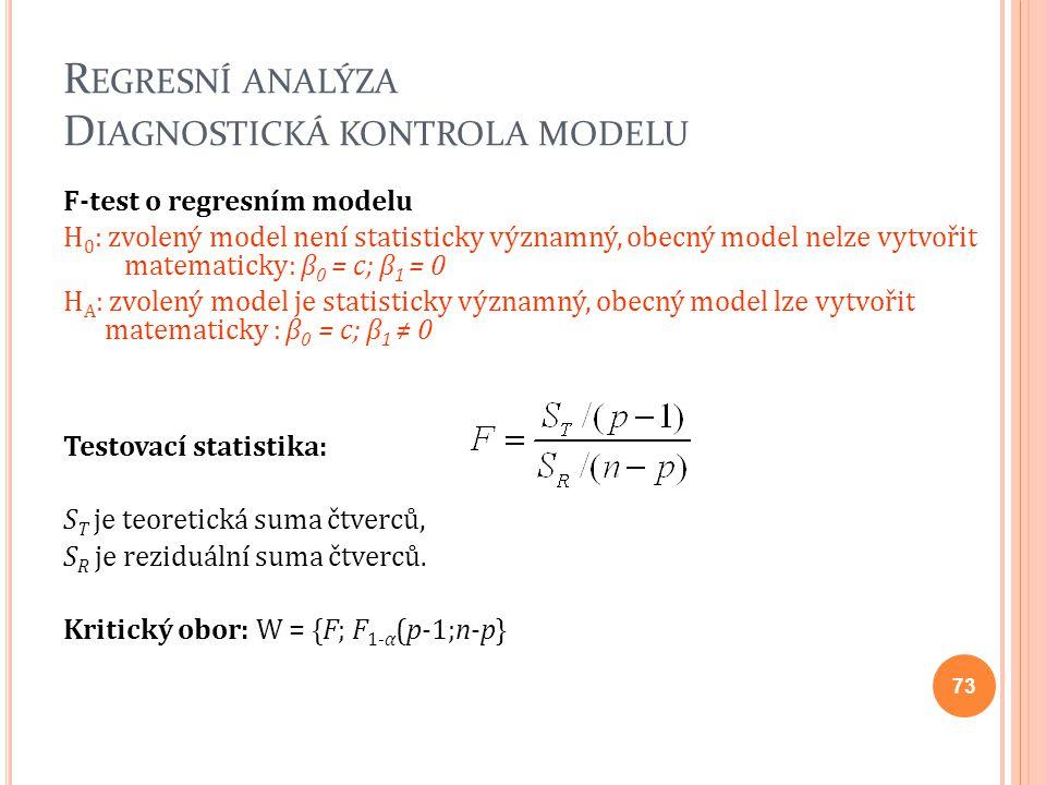 R EGRESNÍ ANALÝZA D IAGNOSTICKÁ KONTROLA MODELU F-test o regresním modelu H 0 : zvolený model není statisticky významný, obecný model nelze vytvořit m