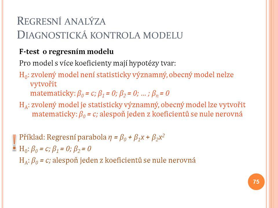R EGRESNÍ ANALÝZA D IAGNOSTICKÁ KONTROLA MODELU F-test o regresním modelu Pro model s více koeficienty mají hypotézy tvar: H 0 : zvolený model není st